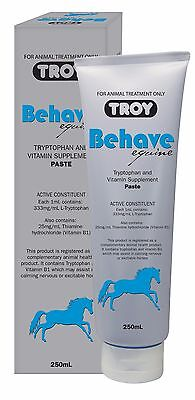 Troy Behave Dog or Horse Paste TRYPTOPHAN VITAMIN B1 SUPPLEMENT 250ml