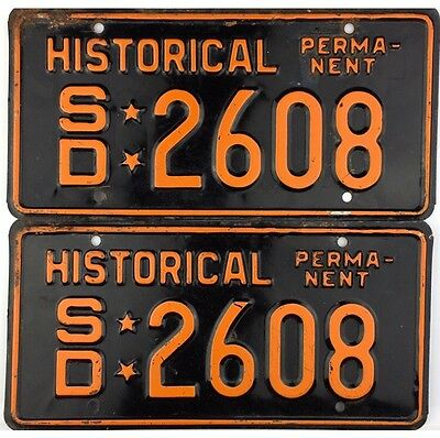 South Dakota PERMANENT HISTORICAL License Plate PAIR #2608 No Reserve