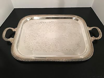 Vintage Silverplate on Copper Serving Tray Handles Gadrooned & Beaded Edge