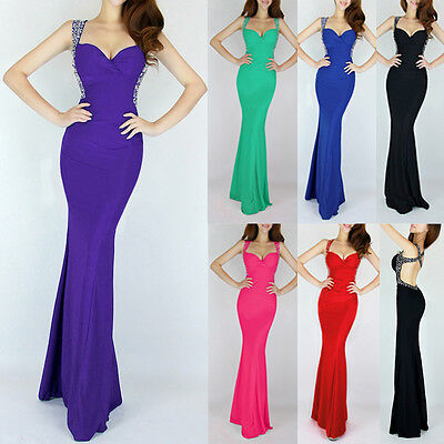 Long Mermaid Formal Bridesmaid Dress Wedding Prom Cocktail Evening Gown Dresses