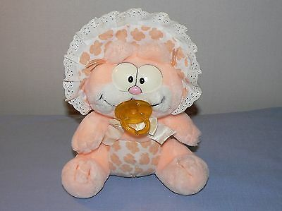 Garfield plush stuffed animal vintage cat baby shower pacifier hat orange peach