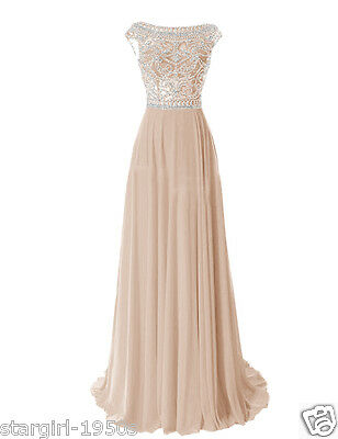 US 8 Champagne Long Bead Bridesmaid Evening Formal Party Ball Gowns Prom Dresses