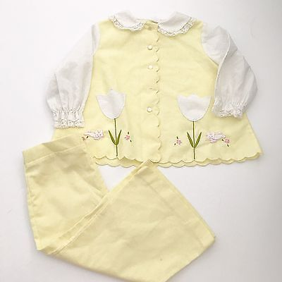 Vintage Little Girls Yellow Outfit Scallop Detail Tulips Embroider Top Pants 3/4