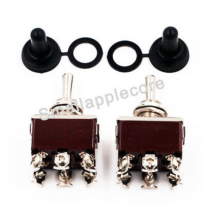 2 x Waterproof boot cap DPDT momentary Toggle switch ON/OFF/ON Amp USA