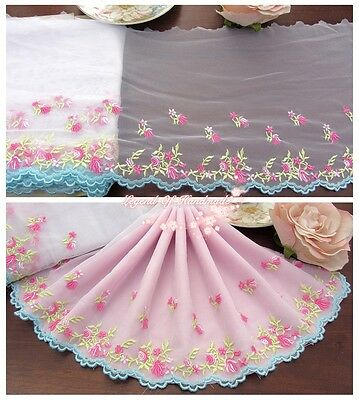 "7""*1Y Embroidered Tulle Lace Trim~White+Light Blue+Lt.Green+Lt.Pink+Hot Pink~"