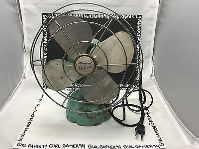 "Vintage Turquoise/Teal/Blue Wizard Deluze 8"" Tilting Table Fan - Home Decor!"