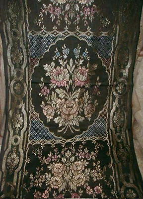 1920s Antique French Art Deco Tapestry Runner Pink Roses,Blue,Peach,Black,Gold