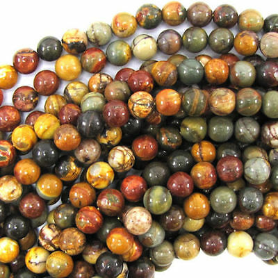 "New 8mm multicolor picasso jasper round beads 15"" strand"