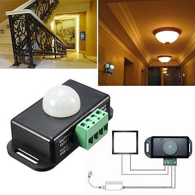 8A Automatic DC 12V-24V Infrared PIR Motion Detector Sensor Switch LED lights KC