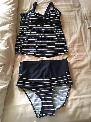 JoJo Maman Bebe Maternity Swimsuit Tankini (Small) Navy