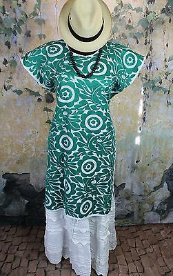 Green & White Huipil Dress Hand Embroidered Jalapa Mexican Hippie Southwestern