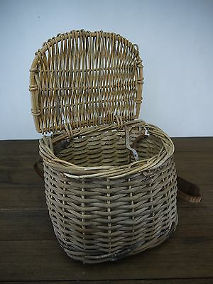 BEAUTIFUL c.1920's ANTIQUE WILLOW OR CANE FISHING CREEL BASKET INDUSTRIAL DECOR
