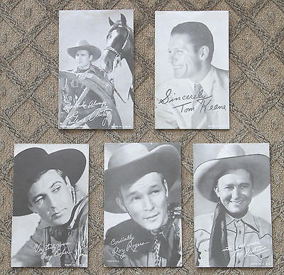 Roy Rogers, Tom Mix, Tex Ritter. Five 1940s Cowboy Actor Photo Cards, PC2-8