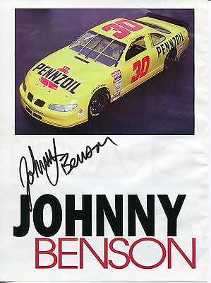 Johnny Benson Jr. NASCAR Driver Signed Autograph Photo