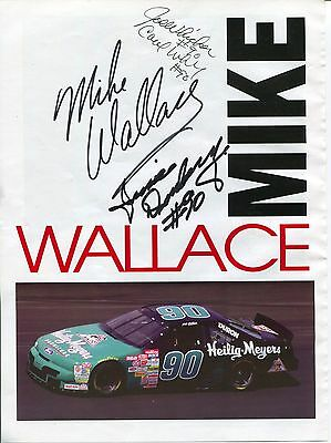 Mike Wallace Junie Donlavey NASCAR Driver And Owner Signed Autograph Photo