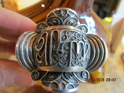 Rare Wide Antique Egyptian Hallmarked 800 Silver Filigree Bracelet