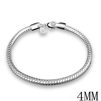 925 Sterling Silver Charm Women 3/4MM Snake Chain Bangle Bracelet  Jewelry Gift