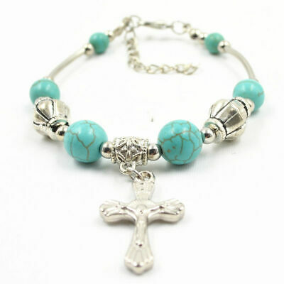 New Fashion Jewelry Tibetan Silver Bracelet  Turquoise Bead Adjust Cross Bangle
