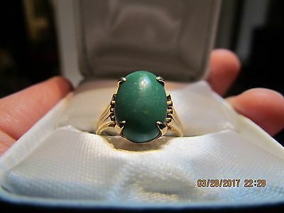 Antique 18K Solid Yellow Gold Natural Green Turquoise Ring Size 8