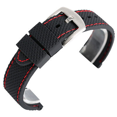 Silicone Wrist Strap Sport Diver Waterproof Soft Rubber Watch Band 18 20 22 24mm
