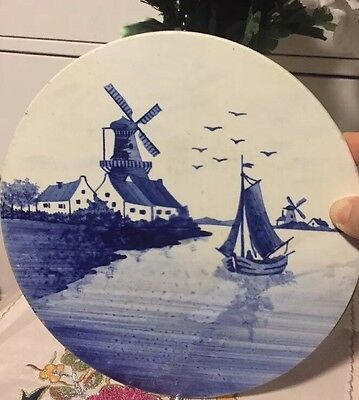 Vintage Hand Painted White And Blue Porcelain Wind Mill Paint Made In Germany