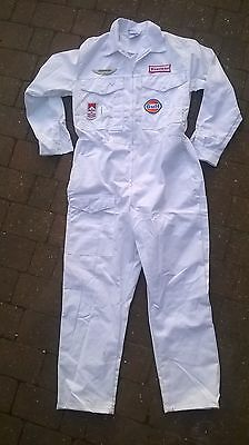 Goodwood Revival Classic Vintage Style white Overalls pit race crew badges