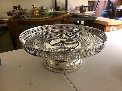 Alvin Sterling Silver Elegant Pierced Compote Footed Cake tray 260 Grams