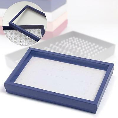 Blue 100 Slot Ring earring Jewellery Box Display Tray Case Storage Organizer KC