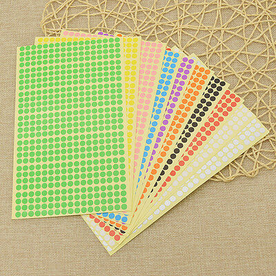 6mm Round Dot Stickers Coloured Paper Labels Circles Dots Adhesive Sticky