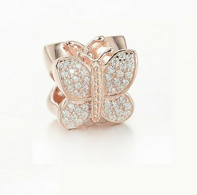 S925 Silver Charm 14K Rose Gold PL Sparkling Butterfly Clear by Pandora's Angels