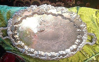 """Large Oval Sheffield Silverplate Serving Tray W/Handles - 29 x 18"""" MONOGRAM"""