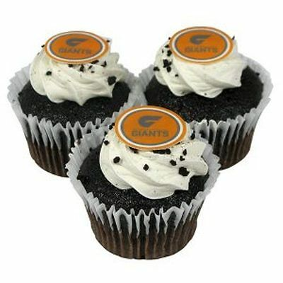 430118 Greater Western Sydney Gws Giants Afl Team Logo Edible Cup Cake Muffin