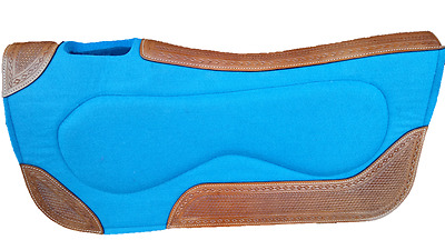 Aqua Blue Felt Saddle Pad with Leather inserts
