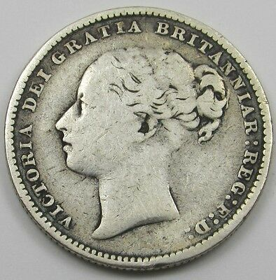 QUEEN VICTORIA YOUNG HEAD SILVER ONE SHILLING COIN dated 1885
