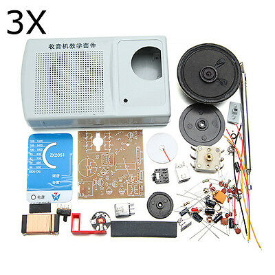DIY ZX2051 Type IC FM AM Radio Kit Electroinc Learning Set 3Pcs