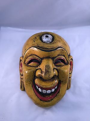 Hand Carved And Hand Painted Wooden Mask From Nepal