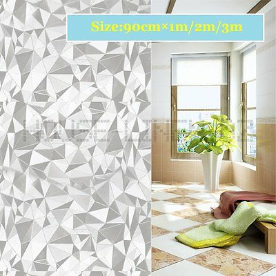 90CM 3D Glueless Reusable Removable Static Privacy Frosted Window Glass Film