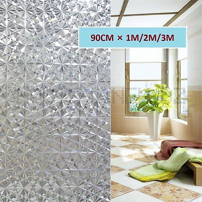 90CM 3D Glueless Recyclable Removable Static Privacy Frosted Window Glass Film