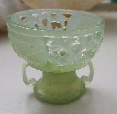 Antique Pierced, Carved Translucent Jade Bowl / Cup