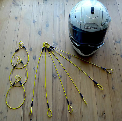 Super Tough Motorcycle Helmet and Riding Gear Security Cable 1000 mm (Yellow)