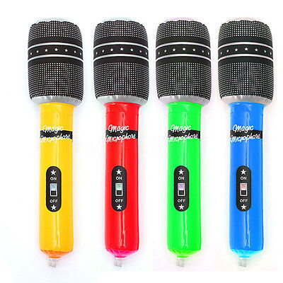 Inflatable Blow Up Mic Microphone Kid Disco Rock Halloween Beach Party Toy Prop
