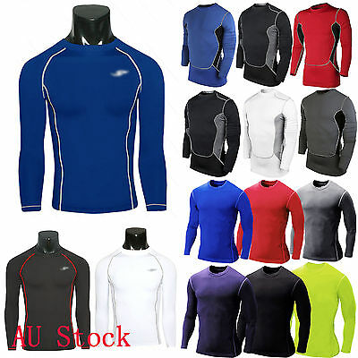 Mens Compression Under Base Layer Top Tight Long Sleeve T-Shirts Sports Workout