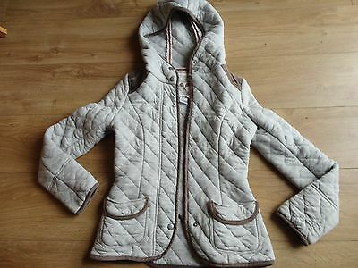 Next Grey Quilted Jacket With Hood Size 6