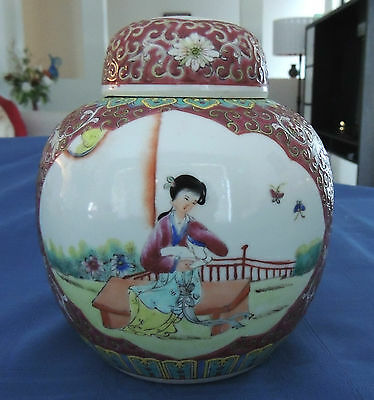 LOVELY CHINA POT WITH LID - ORIENTAL DESIGN - VERY PRETTY - 13cm W X 15.5cm H