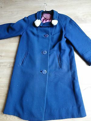 Vintage 1950's Coat . Bluewith Mink Rolls  On Collar Size 14