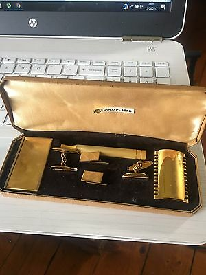 Vintage 7 Piece Gold Plated Gillette Safety Razor W, Original Box, Blades & Cuff