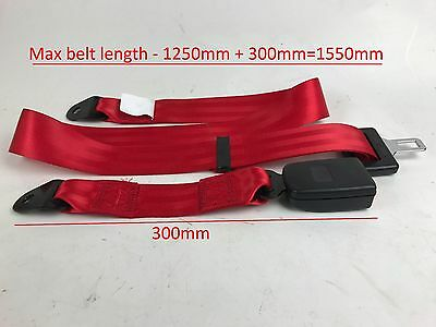 RED Universal 2 Point lap Seat Belt E9 Rated. UK supplier, VAT Inc ECER16,