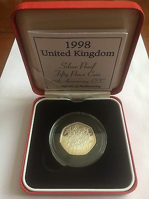 Boxed 1998 United Kingdom Silver Proof EEC 50p With COA