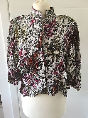 Size 14 Blouse Vintage Style 80s Double Buttoned Front Floral Abstract