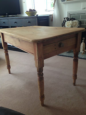 Antique Victorian Solid Old Pine Scrub Top Kitchen Dining Table Table Drawer
